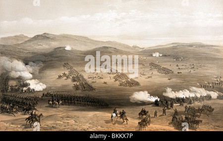 Vintage print circa 1855 depicting the famous Charge of the Light Brigade on October 25 1854 during the Crimean - Stock Photo