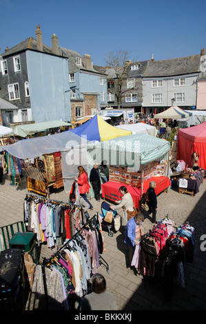 Open market in Totnes town centre South Devon England UK - Stock Photo