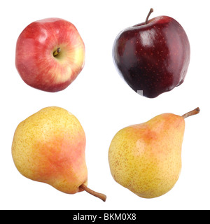 Closeup of red apples and yellow pears isolated on white background - Stock Photo