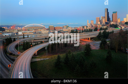 Seattle skyline at dawn on a winter day in February - Stock Photo