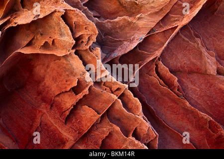 Details in striated sandstone formations in Vermilion Cliffs National Monument, Arizona - Stock Photo