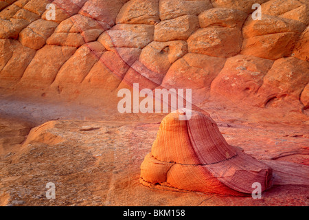Textured sandstone wall in Vermilion Cliffs National Monument, Arizona - Stock Photo