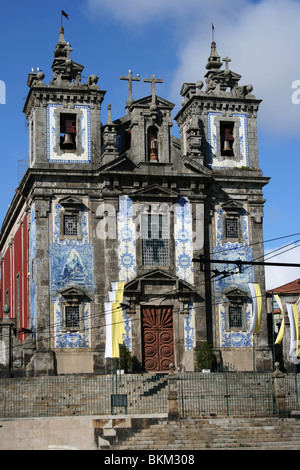 Church of Santo Ildefonso with two towers and bells in old Porto, Portugal - Stock Photo