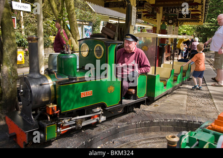 Miniature / model narrow gauge locomotive railway steam train and driver, at Brookside Garden Centre, Poynton. Cheshire. - Stock Photo