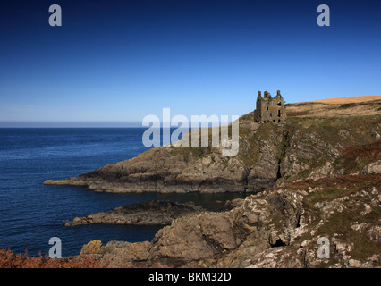 Dunskey Castle, near Portpatrick, Dumfries and Galloway, Scotland. - Stock Photo