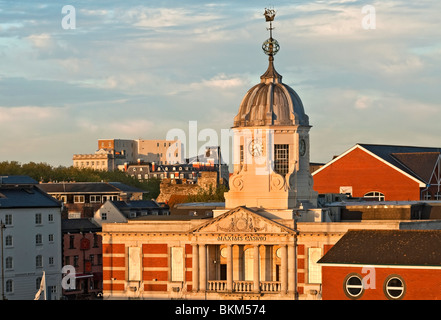 Image of the Southampton Harbour Docklands at Sunset, Hampshire, South England. - Stock Photo
