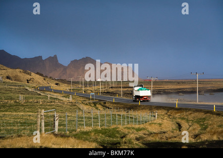 Truck driving on highway 1 which has reopened after flooding of meltwater from the volcanic eruption in Eyjafjallajokull - Stock Photo