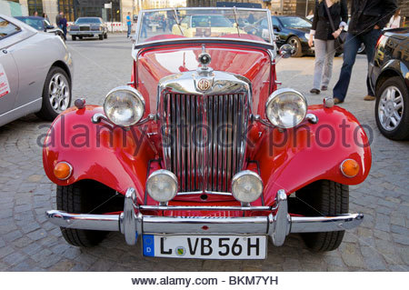 MG T-Type Antique Car from the early 1950's. Taken at a car show in Leipzig, Germany. - Stock Photo