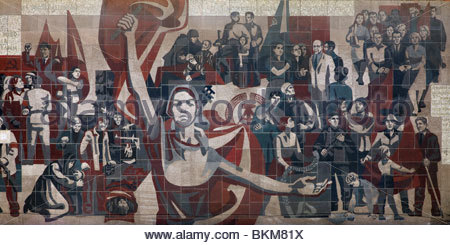 Communist propaganda mural on the wall of the Kulturpalast in Dresden, Germany. - Stock Photo