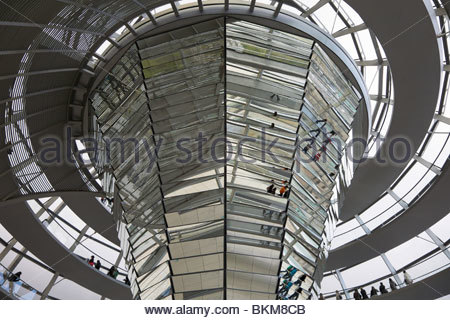 View inside the glass dome of the Reichstag in Berlin, Germany. - Stock Photo