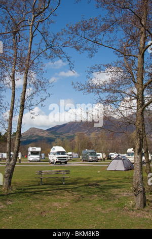 Campervans and caravans on Keswick Camping & Caravanning Club Site - Stock Photo