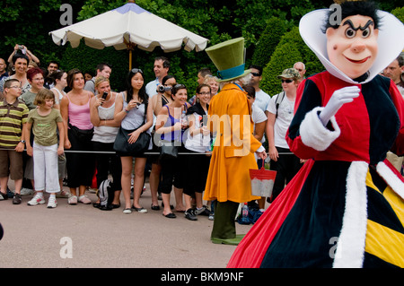 Paris, France, Theme Parks, Audience, Disneyland Paris, Crowd Watching Main Street USA Parade - Stock Photo