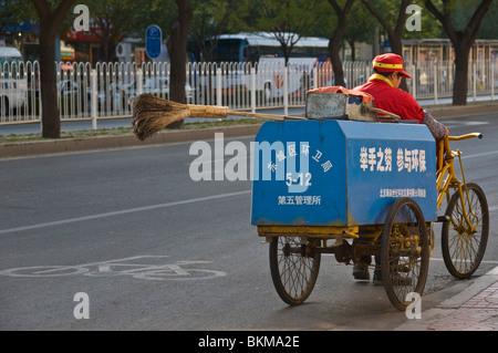 Municipal street Cleaner Beijing China - Stock Photo