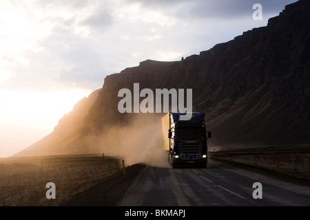 Highway 1 is a sealed road but is covered by volcanic ash from the volcanic eruption in Eyjafjallajokull glacier, - Stock Photo