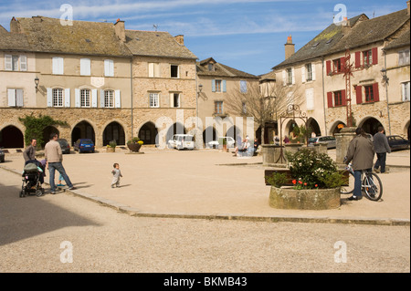 The Beautiful Town Square in the Ancient Bastide Community of Sauveterre-de-Rouergue Aveyron France - Stock Photo
