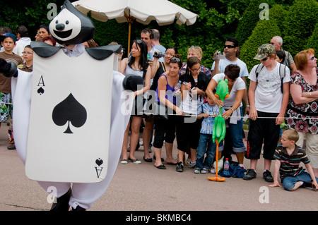 Paris, France, Theme Parks, Family Visiting Disneyland Paris, Crowd Watching Main Street USA Parade, - Stock Photo
