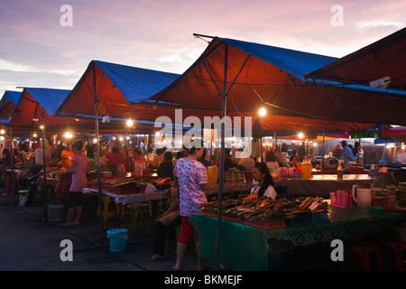 Hawker food stalls at the Night Market. Kota Kinabalu, Sabah, Borneo, Malaysia - Stock Photo