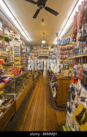 Old fashioned hardware store, the oldest hardware store west of the Mississippi River. - Stock Photo