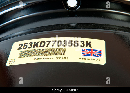 Made in the UK & ISO9001 Label - Stock Photo