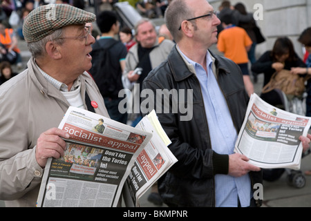 May Day march and rally, Trafalgar Square, May 1st, 2010 Socialist Appeal newspaper sellers paper International - Stock Photo