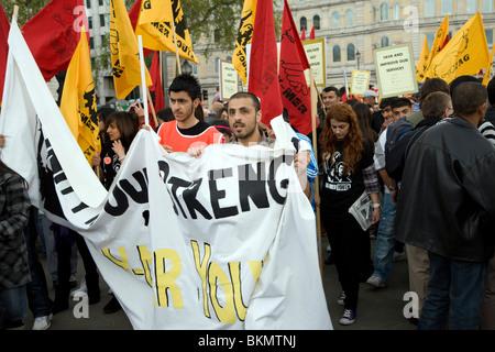 May Day march and rally at Trafalgar Square, May 1st, 2010 - Stock Photo