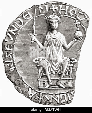 Great Seal of William the Conqueror, 1027 to 1087 aka William I of England and William II, Duke of Normandy - Stock Photo