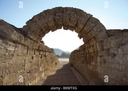 Sanctuary of Olympia. Entrance to olympic stadium. Stone arch. III B.C. Elis. Peloponesse. Greece. - Stock Photo
