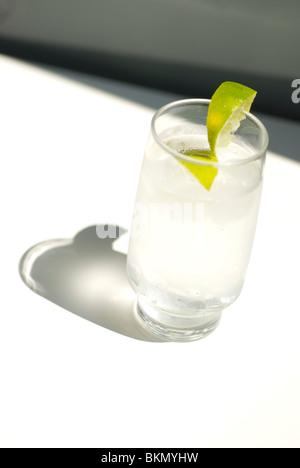 tonic water with ice and lemon slice - Stock Photo