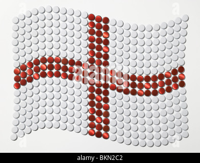 Flag of Saint George made of bottle tops - Stock Photo