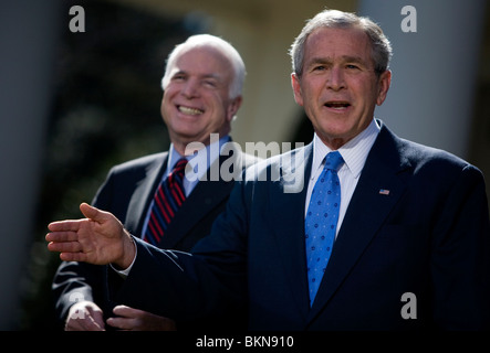 President George W Bush endorses Senator John McCain during the 2008 Presidential Election. - Stock Photo
