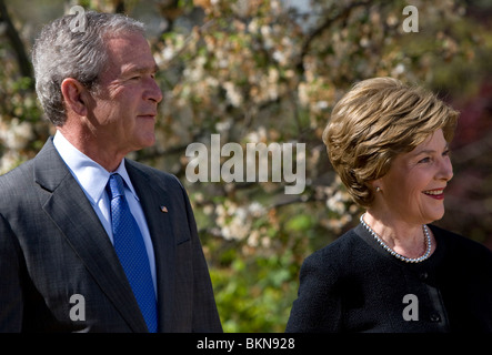 President George W Bush and First Lady Laura Bush. - Stock Photo