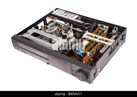 Open Video Cassette Recorder isolated on white background - Stock Photo