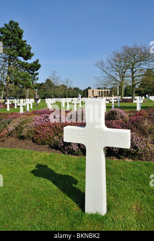 The WW2 Normandy American Cemetery and Memorial is a World War II cemetery and memorial at Colleville-sur-Mer, Normandy, - Stock Photo