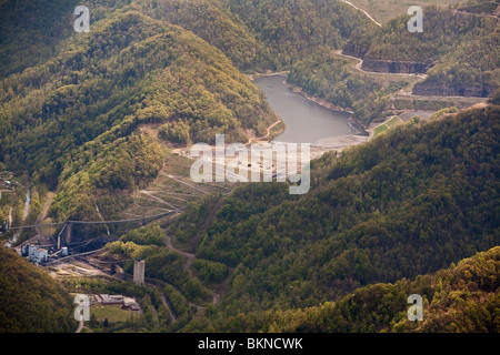 Aerial View of Massey Energy's Shumate Coal Sludge Impoundment Above Marsh Fork Elementary School - Stock Photo