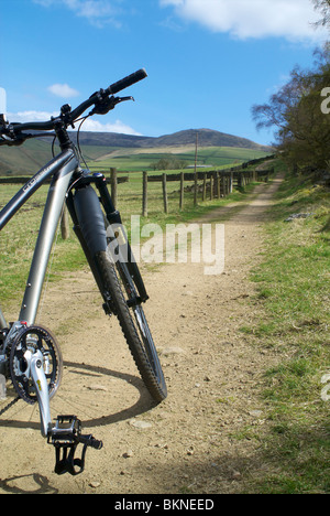 Cycling near Hayfield in the Peak District - Stock Photo