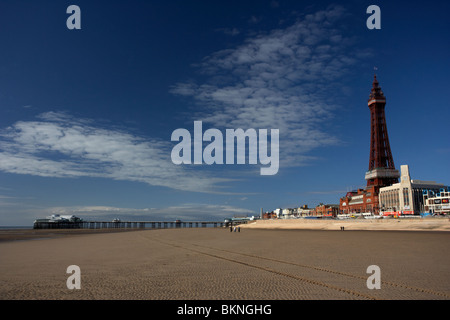 blackpool beach north pier new breakwater and tower lancashire England UK - Stock Photo