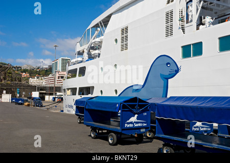 Porto Santo Ferry moored in Funchal Harbour Madeira Portugal EU Europe - Stock Photo