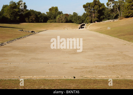 Sanctuary of Olympia. Panorama of the ancient Olympic Stadium. The east of archaelogical site. Elis. Peloponesse. - Stock Photo