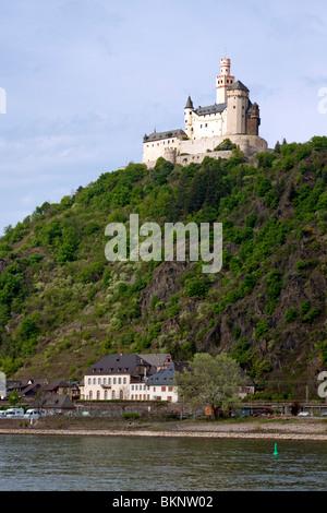 Marksburg castle near Braubach on the middle Rhine river - Stock Photo