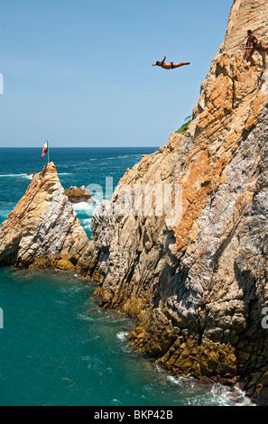 La Quebrada Cliff Diver in Acapulco, Mexico - Stock Photo