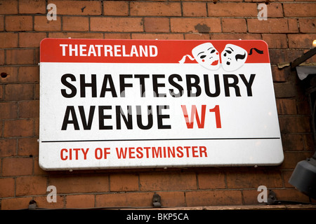Street sign Shaftesbury Avenue, Theatreland, London, W1, England, City of Westminster - Stock Photo