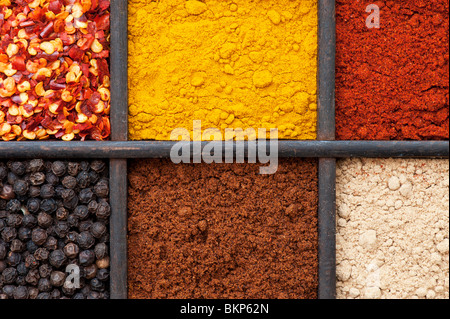 Indian spices in an old wooden tray - Stock Photo