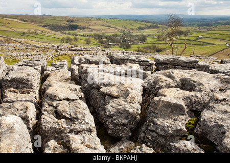 Limestone pavement at the top of Malham Cove in the Yorkshire Dales, Uk - Stock Photo