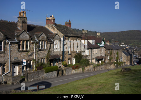 terraced houses on the hill in church street Bakewell market town in the high Peak District Derbyshire England UK - Stock Photo
