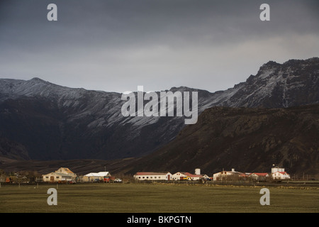 Farm that got hit by volcanic ash from the volcanic eruption in Eyjafjallajokull glacier, South Iceland. - Stock Photo