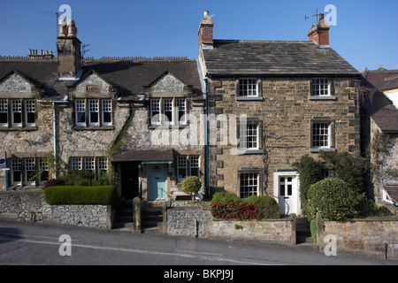 terraced houses on the hill in church street Bakewell market town in the high Peak District Derbyshire England UK Stock Photo