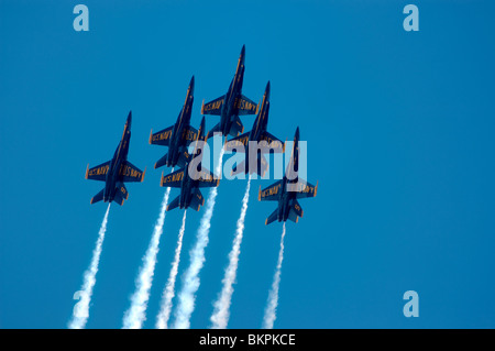 Stock photograph of US Navy Blue Angels flying during airshow at Marine Corps Air Station Miramar, San Diego, California, USA