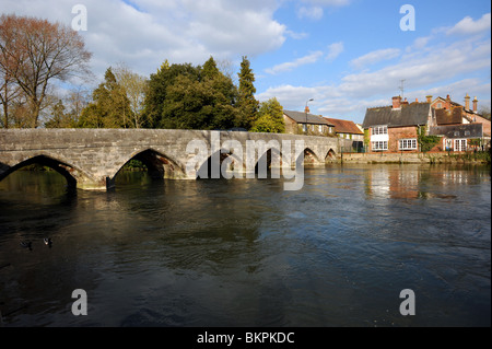 The first great bridge built in medieval times which spans the River Avon at Fordingbridge - Stock Photo
