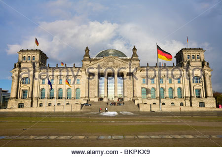View from the front of the Reichstag parliament building in Berlin, Germany. - Stock Photo