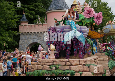 Paris, France, Theme Parks, People Visiting Disneyland Paris, Crowd Looking at Main Street USA Parade Floats - Stock Photo